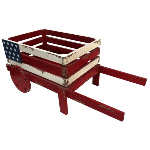 Sommer American Flag Wooden Wheelbarrow Planter by August Grove