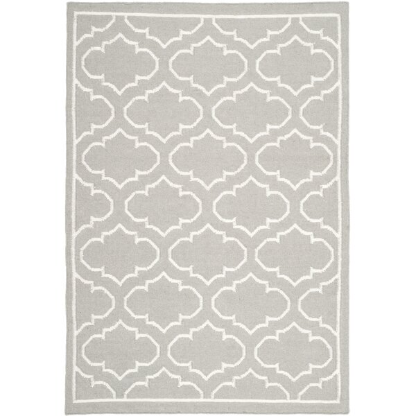 Dhurries Hand-Woven Wool Gray/Ivory Area Rug by Safavieh
