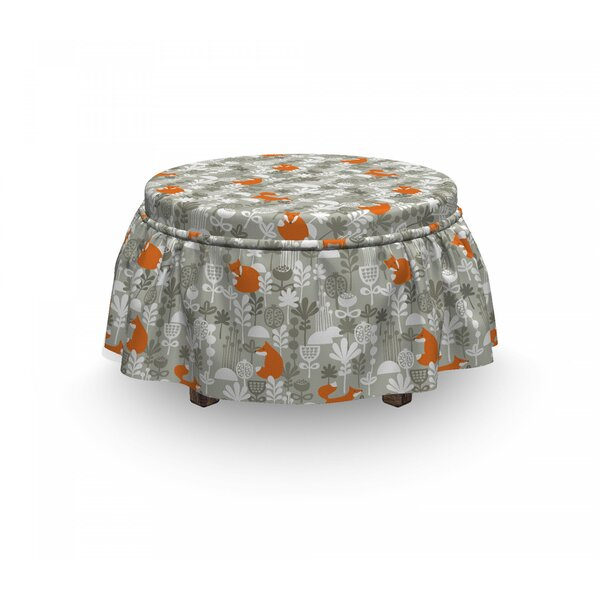 Fox Doodle Forest Design 2 Piece Box Cushion Ottoman Slipcover Set By East Urban Home