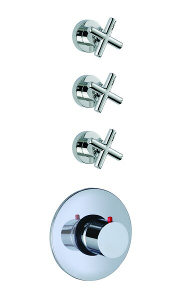 Maxima Built-In Thermostatic Valve Trim with Three Volume Control Handles by Fima by Nameeks