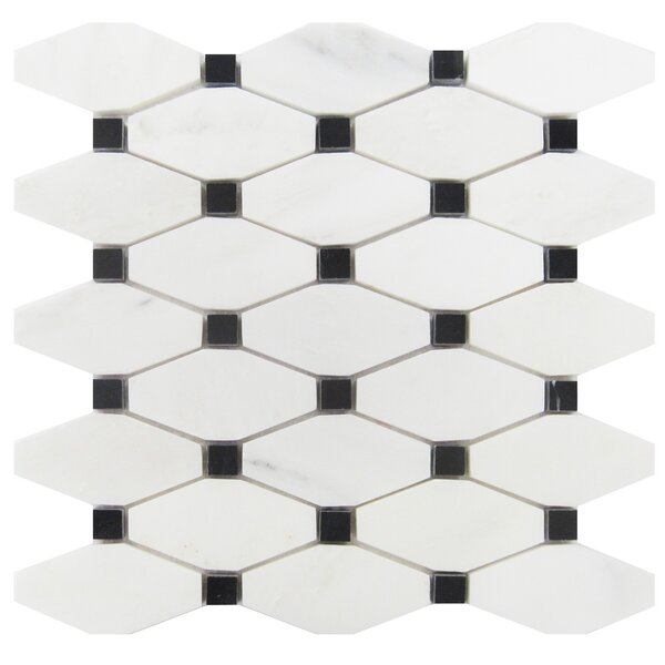 2 x 4 Marble Mosaic Tile in Oriental White/Black by Luxsurface