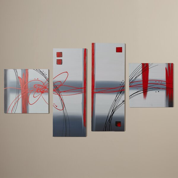 Frosted Glass 4 Piece Painting on Canvas Set by Iv