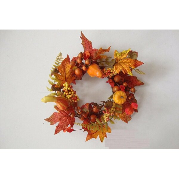 Harvest Fall Thanksgiving Candle Ring Mini Wreath by The Holiday Aisle