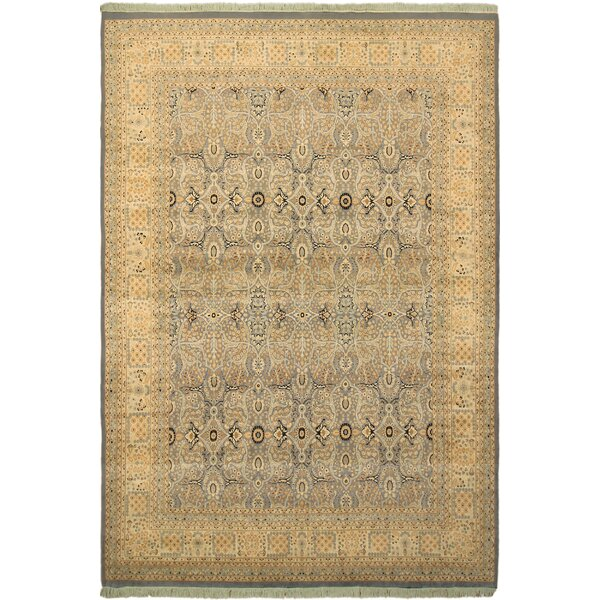 One-of-a-Kind Mcdavid Tabriz Hand-Knotted Wool Light Blue/Beige Area Rug by Bloomsbury Market