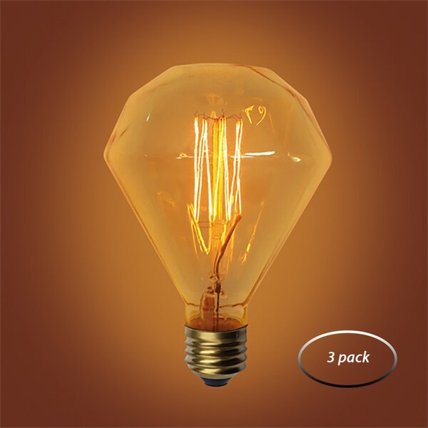 60W Amber E26 Incandescent Vintage Filament Light Bulb (Set of 3) by Urbanest