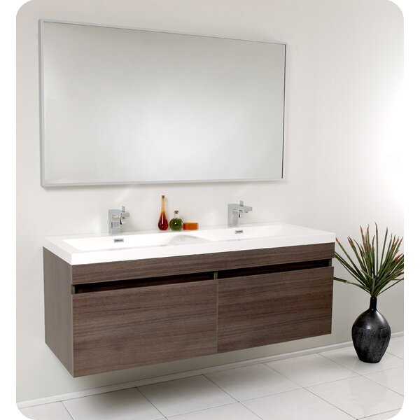 Senza 57 Double Bathroom Vanity Set with Mirror