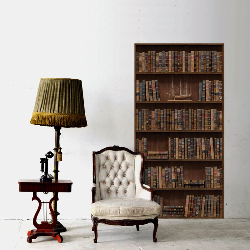 Vintage Bookshelf Wall Decal