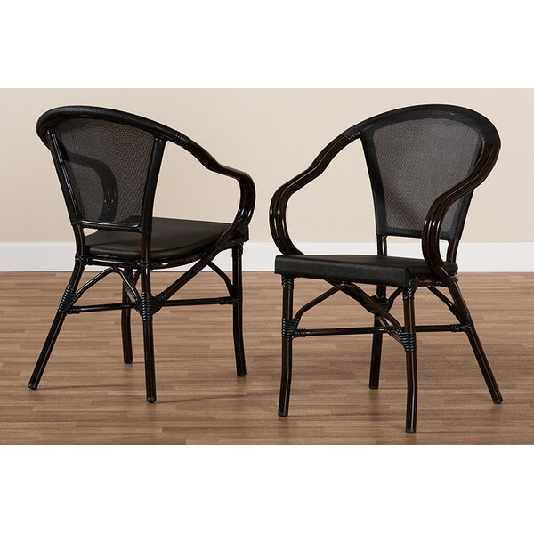 Raelynn Bamboo Stacking Patio Dining Chair (Set of 2) by Bay Isle Home Bay Isle Home