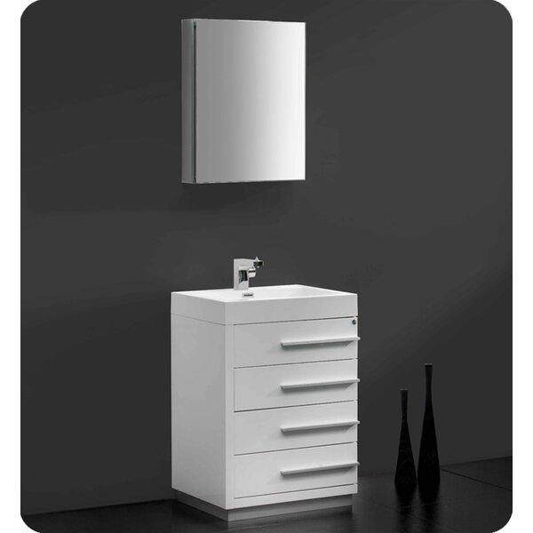Senza 24 Single Bathroom Vanity Set with Mirror by FrescaSenza 24 Single Bathroom Vanity Set with Mirror by Fresca