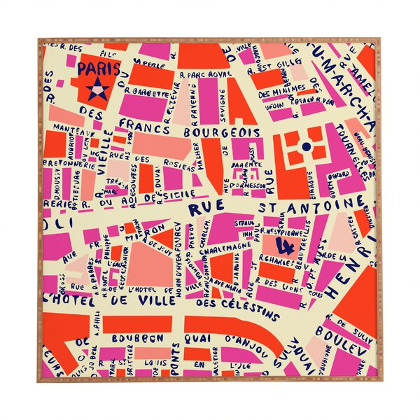Paris Map by Holli Zollinger Framed Graphic Art by Deny Designs