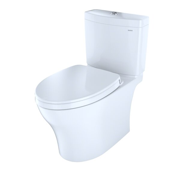 Aquia Dual Flush Elongated Two Piece Toilet with CeFiONtect by Toto