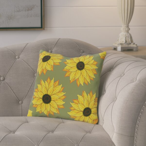 Cherokee Sunflower Power Floral Outdoor Throw Pillow by August Grove
