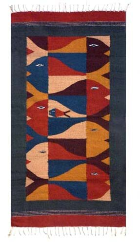 Hand-Loomed Brown/Red Area Rug by Novica