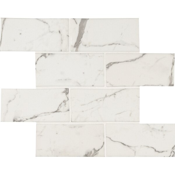 Statuario Celano 3 x 6 Glass Subway Tile in White by MSI