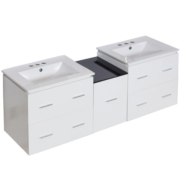 Hinerman 62 Wall-Mounted Double Bathroom Vanity Set