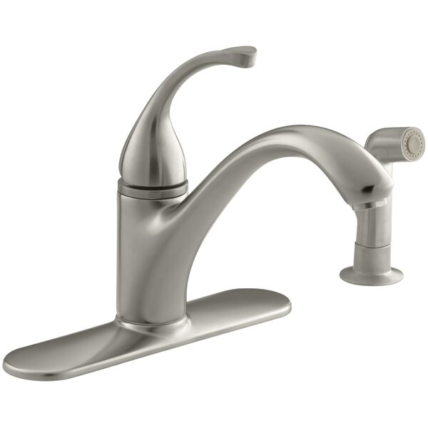 Forté 4-Hole Kitchen Sink Faucet with 9-1/16 Spout, Matching Finish Sidespray by Kohler