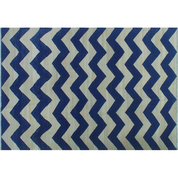 Irvine Hand-Knotted Wool Blue Area Rug by Ivy Bronx