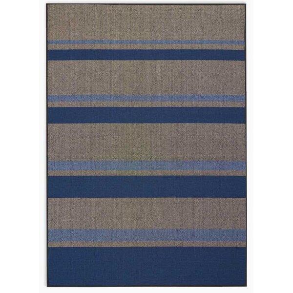 San Diego CK730 Striped Handwoven Flatweave Beige/Cobalt Area Rug by Calvin Klein