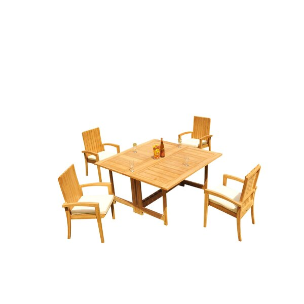 Mathena 5 Piece Teak Dining Set by Rosecliff Heights