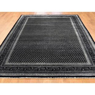 One-of-a-Kind Perin Sarouk Mir Oriental Hand-Knotted Black Area Rug by World Menagerie