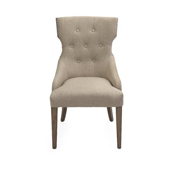 Wilcoxson Tufted Leather Upholstered Wingback Side Chair In Gray By Ophelia & Co.