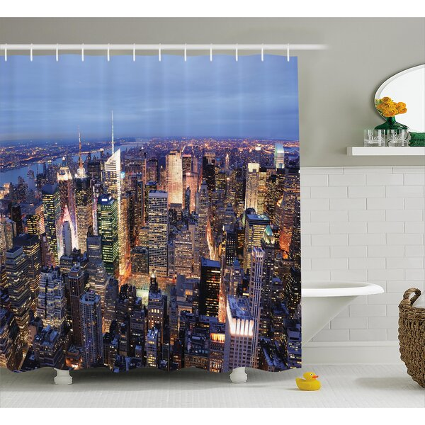 Landscape Aerial View of NYC Shower Curtain by East Urban Home