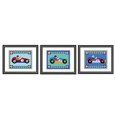 Vroom 3 Piece Framed Art Set by Olive Kids