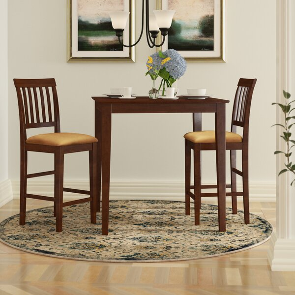 Quinlan 3 Piece Counter Height Solid Wood Dining Set by Andover Mills Andover Mills