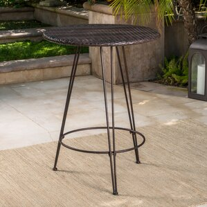 Preslar Outdoor Wicker Pub Table by Varick Gallery