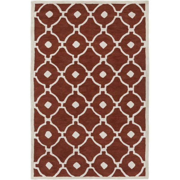 Kroeger Rust/Ivory Area Rug by Latitude Run