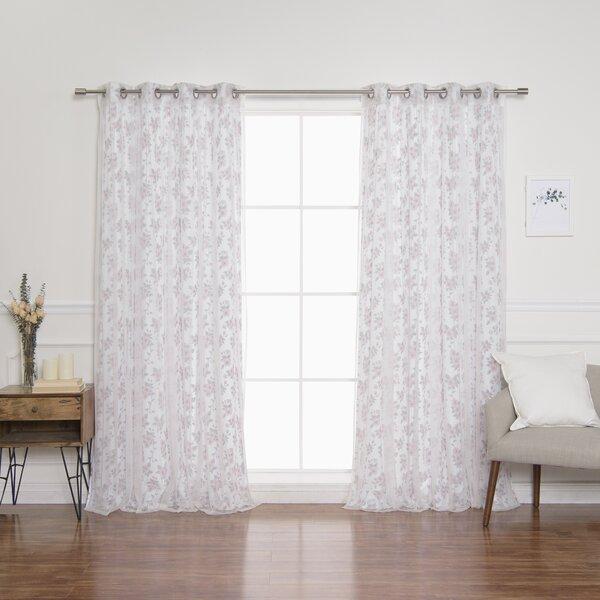 Carmona Hibiscus Blossom Semi-Sheer Grommet Curtain Panels by One Allium Way