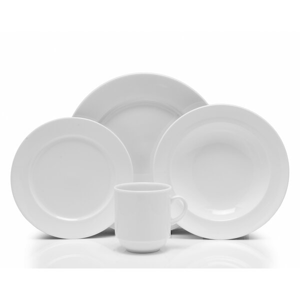 Cassia Vitrified China 16 Piece Dinnerware Set, Service for 4 by Fortessa