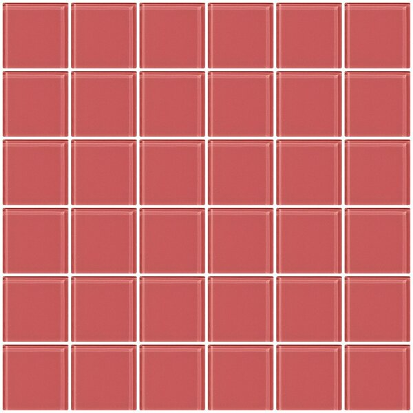 Bijou 22 2 x 2 Glass Mosaic Tile in Coral Pink by Susan Jablon