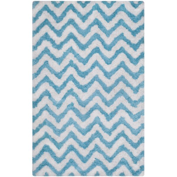 Hand-Tufted Sky Blue/White Area Rug by Safavieh