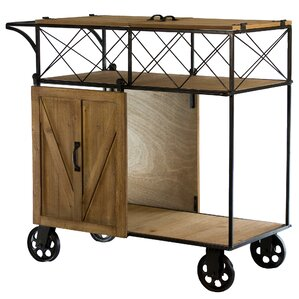 Josiahs Rustic Barn Door Rolling Bar Cart by Gracie Oaks