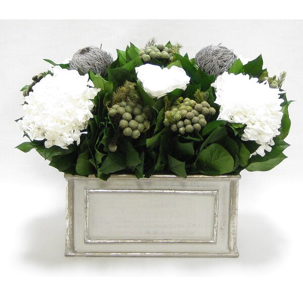 Mixed Floral Arrangement in Wooden Rectangle Container by Rosdorf Park