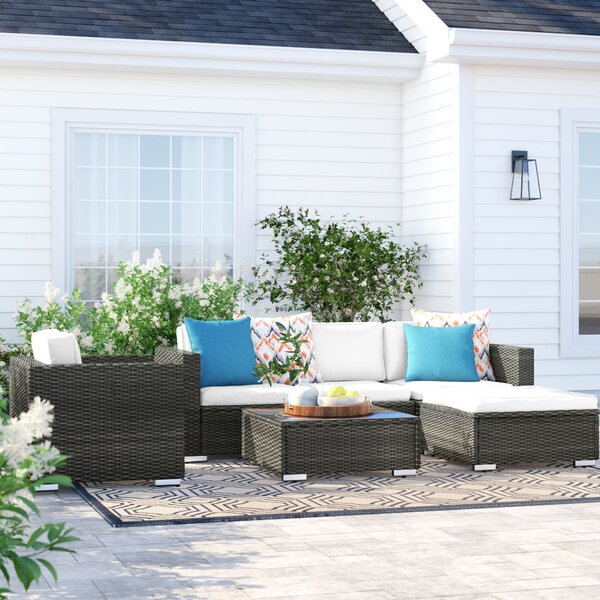 Carmelo 6 Piece Rattan Sectional Seating Group With Cushions By Sol 72 Outdoor