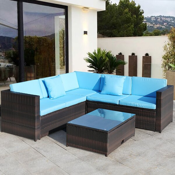 Aishling 4 Piece Rattan Sectional Seating Group with Cushions by Latitude Run