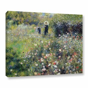 'Woman With A Parasol In A Garden, 1875' by Pierre-Auguste Renoir Painting Print on Wrapped Canvas by Charlton Home