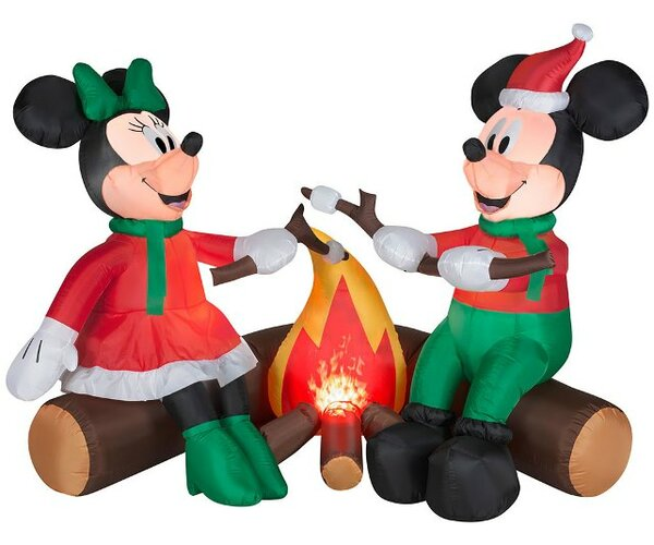 Projection Airblown Fire and Ice Mickey and Minnie Roasting Marshmallows Scene Large Disney Inflatable by Gemmy Industries