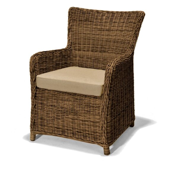 Pulver Weave Patio Dining Chair with Cushion by Highland Dunes