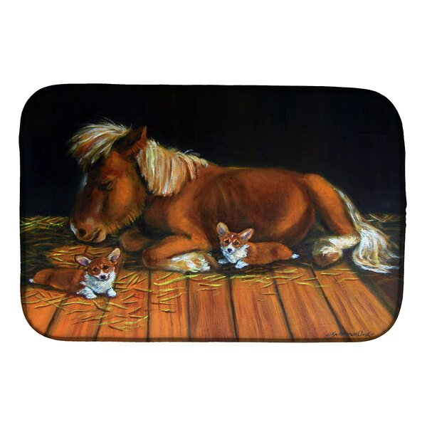 Corgi Snuggles the Pony Dish Drying Mat by Caroline's Treasures