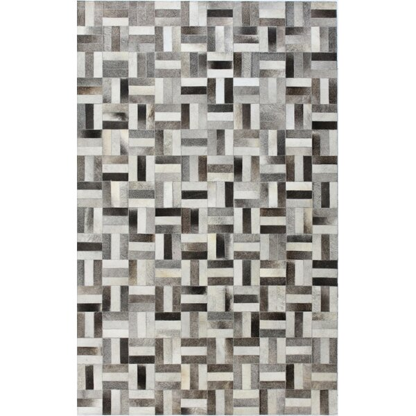 Tuscon Leather Geometric Grey Area Rug by Bashian