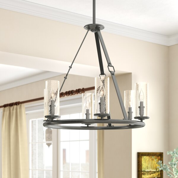 Abeer 6 - Light Shaded Wagon Wheel Chandelier by Three Posts Three Posts
