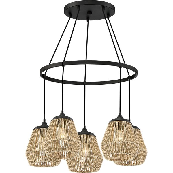 Magnus 5 - Light Shaded Wagon Wheel Chandelier By Bay Isle Home