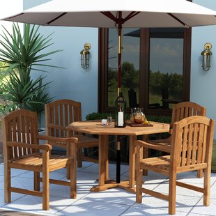 Jayden 5 Piece Teak Dining Set with Cooler Insert By Gracie Oaks