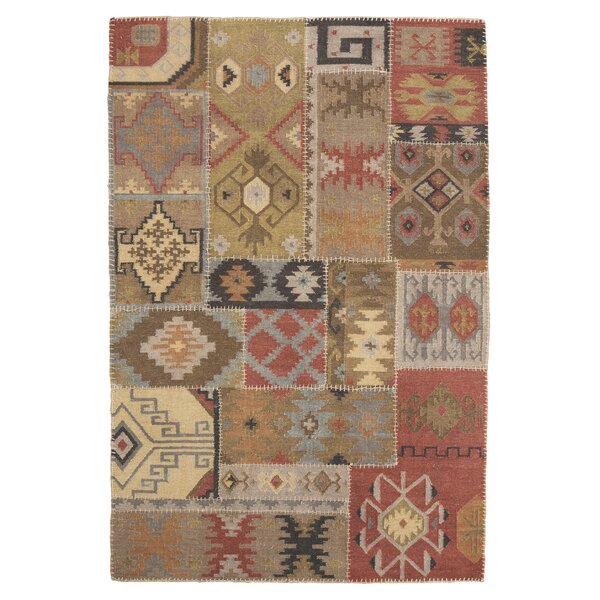 Bell Gardens Hand-Woven Beige/Red Area Rug by Loon Peak