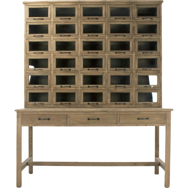 Wood Writing Desk with Hutch