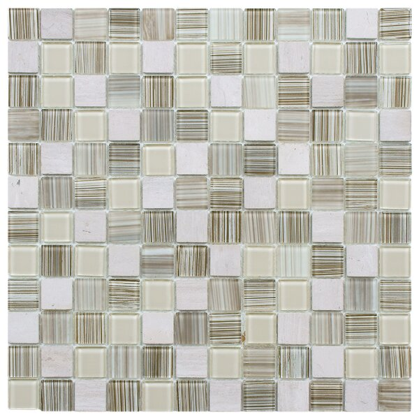 Chroma 0.89 x 0.89 Glass and Natural Stone Mosaic Tile in Pistachio by EliteTile