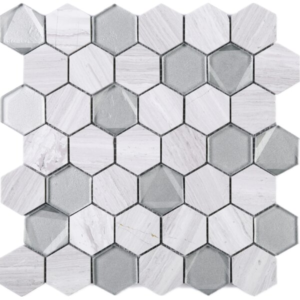 Hexagon 2 x 2 Wooden Marble Mosaic Tile in White/Gray by Multile